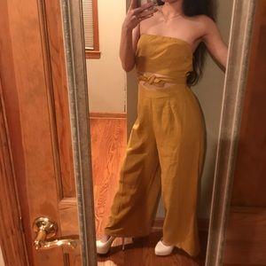 Love Culture Mustard Bell bottom jumpsuit